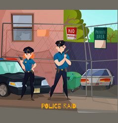 police raid cartoon composition vector image