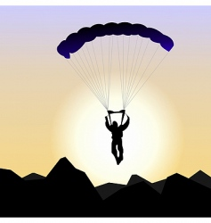 Realistic illustration parachutist of sunrise vector