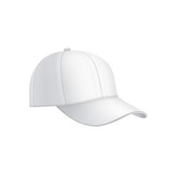Realistic white baseball cap vector