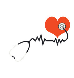Red heart with stethoscope vector