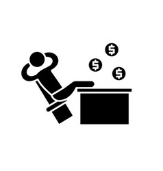 rich manager black icon sign on isolated vector image