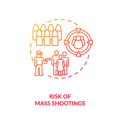 Risk mass shooting red gradient concept icon vector