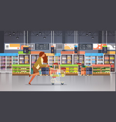 running business woman customer with shopping vector image