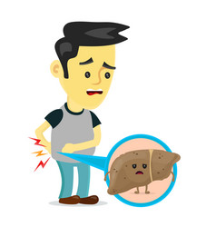 sad sick young man with unhealthy liver vector image