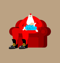 santa claus on chair stroking cat christmas and vector image