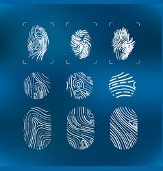 set bright white futuristic fingerprints vector image