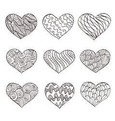 set hand drawn hearts ornate ink drawing vector image