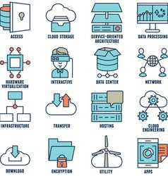Set of flat linear cloud computing icons - part 2 vector