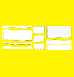 set of note book or ripped paper vector image