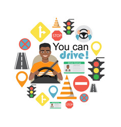 set of road symbols and black african american man vector image