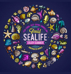 set of sealife cartoon doodle objects symbols and vector image