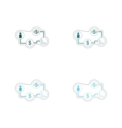 Set paper stickers on white background economy vector