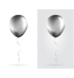 set silver balloons on transparent white vector image