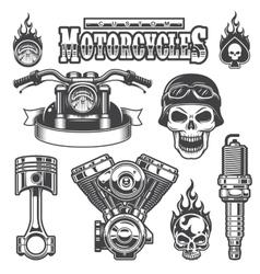 set vintage monochrome motorcycle elements vector image