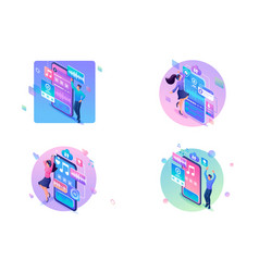 set web design with templates young people vector image