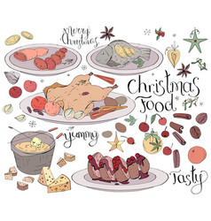 Set with traditional christmas food isolated on vector