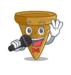Singing empty wafer cone for ice cream character vector