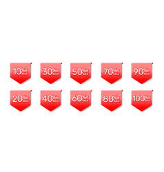 sticker red banner collection off with share vector image