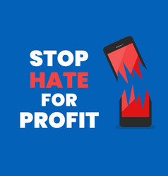 stop hate for profit banner vector image