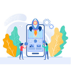 successful mobile app startup tiny people are vector image