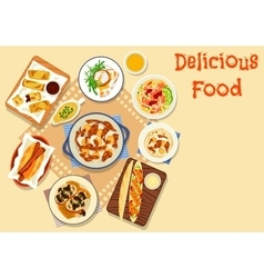 Tasty snack dishes icon for lunch menu design vector