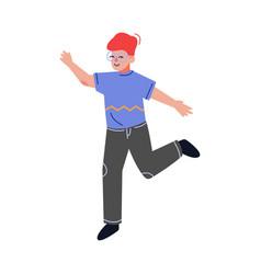 Teenager boy happily jumping emotional schoolboy vector