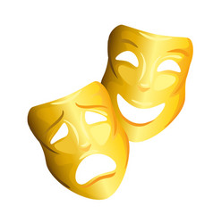 Theatre and cinema happy and sad gold masks vector