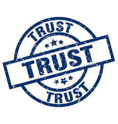 Trust blue round grunge stamp vector