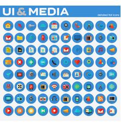 Ui and multimedia big flat trendy icon set vector