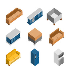 various 3d isometric home furniture set vector image