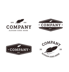 vintage old quill feather pen logo icon template vector image