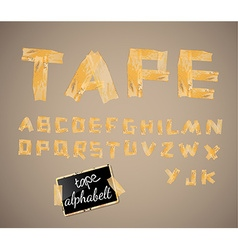 Vintage style alphabet made of yellow distressed vector