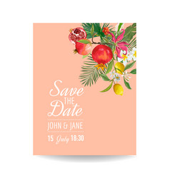 wedding invitation with tropical fruits and palm vector image