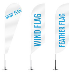 White textile drop wind and feather banner flags vector