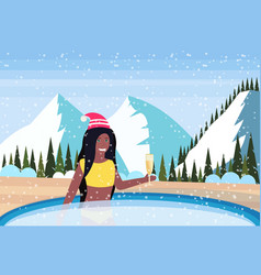 woman hold champagne relax in outdoor swimming vector image