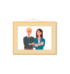 young couple photography in picture frame flat vector image
