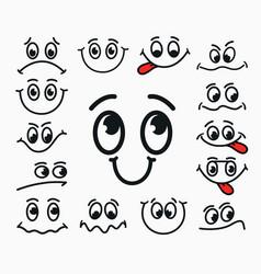 cartoon facial expression of joy of sadness vector image vector image