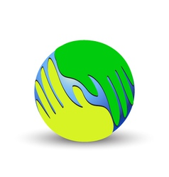 Green hands over the world vector