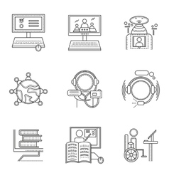 Thin line style distant education icons vector