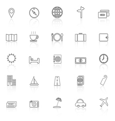 Travel line icons with reflect on white background vector image