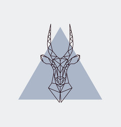 Antelope head in polygonal style vector