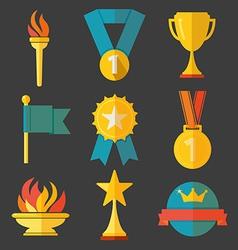 Award icons set vector image