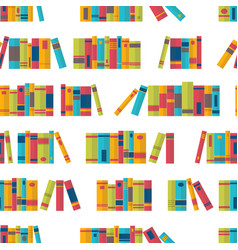 colorful seamless pattern with books on vector image