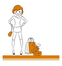 Fashion girl with sale bag vector image