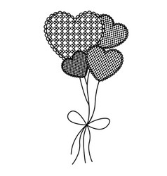 grayscale figure hearts balloons icon vector image vector image