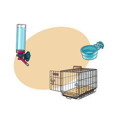 metail wire pet travel carrier feeding bowl and vector image