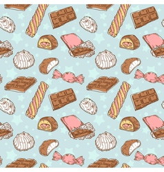 Vintage seamless texture with sweets vector image vector image