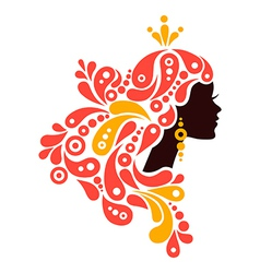 Beautiful woman silhouette Tattoo of abstract girl vector image vector image