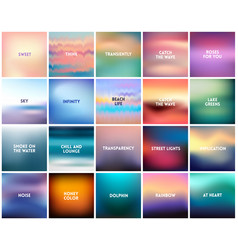 big set of 20 square blurred nature backgrounds vector image vector image