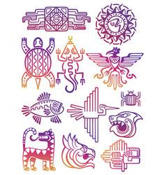 colorful american aztec mayan symbols vector image vector image